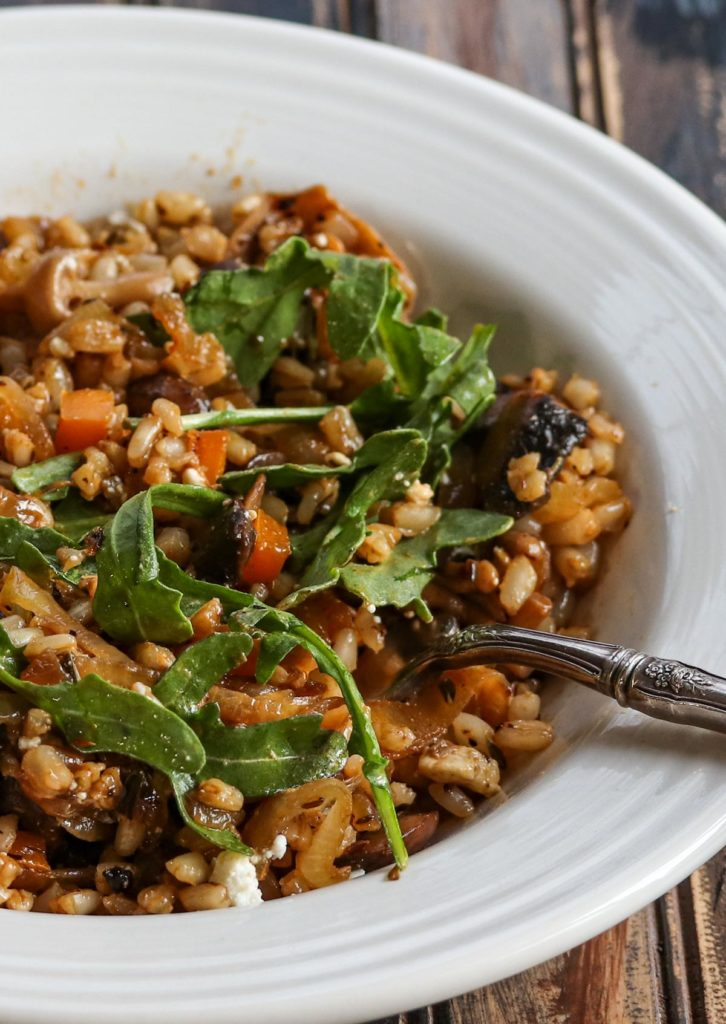Shelled Wheat with Mushrooms and Feta